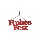 Holz Hänger Frohes Fest Länge 30cm, Höhe 14cm, rot